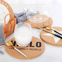 4-Piece Round Patterned Cork Coaster / Hot Pad Set
