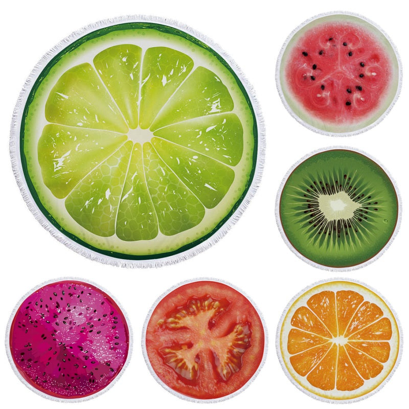 Round Fruit Slice Print Beach Towel