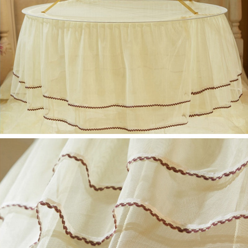 "Sheer 26"" Round Double Lace Princess Bed Canopy"
