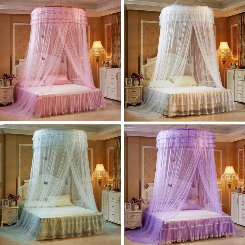 "Sheer 47"" Round Ruffled Princess Bed Canopy"