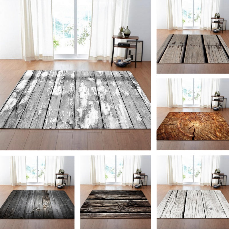 Rustic Wood Board Print Area Rug Floor Mat