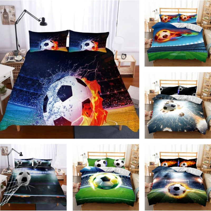 2/3-Piece Action Soccer Ball Duvet Cover Bedding Set