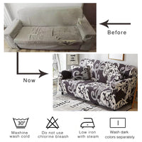 Beige / White Floral Pattern Sofa Couch Cover