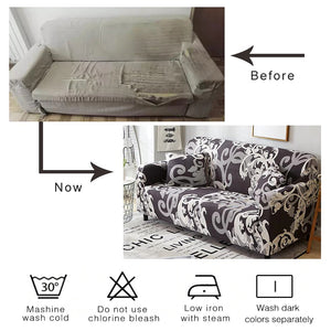 Dark Gray Fern / Palm Leaf Pattern Sofa Couch Cover