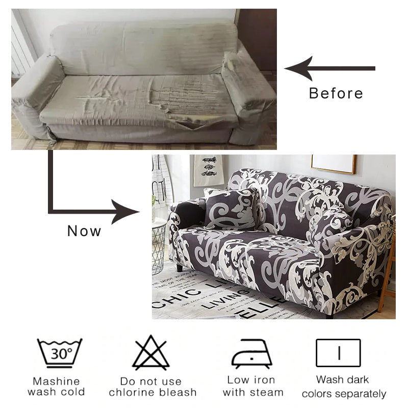 Gray Vintage Floral Pattern Sofa Couch Cover