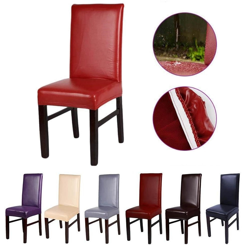 Solid-Color Waterproof PU Leather Dining Chair Cover