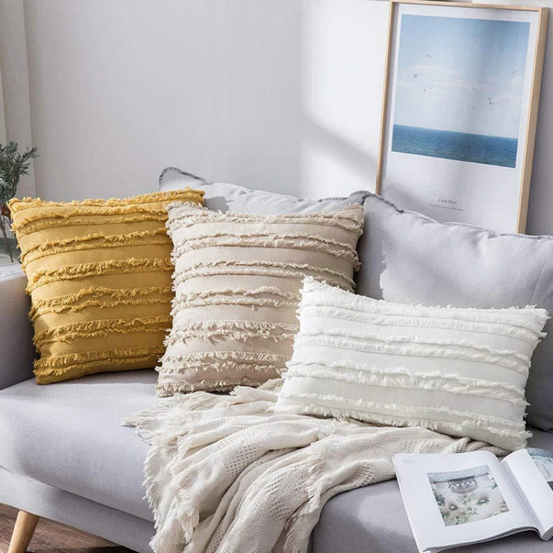 Solid Striped Fringe Throw Pillow Cushion Cover