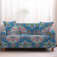 Colorful Teal Blue Bohemian Pattern Sofa Couch Cover