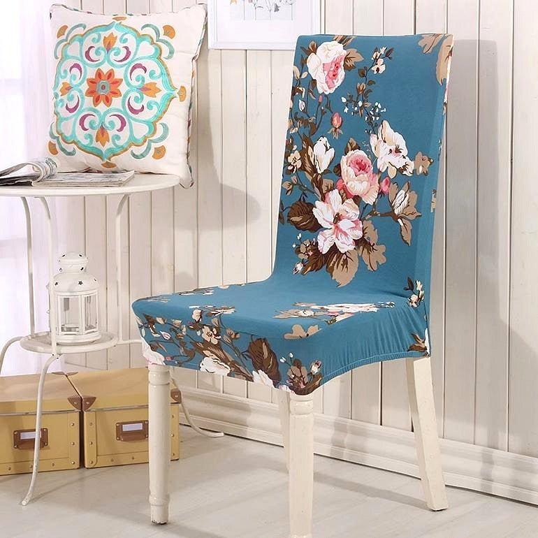 Teal Blue Cherry Blossom Pattern Dining Chair Cover
