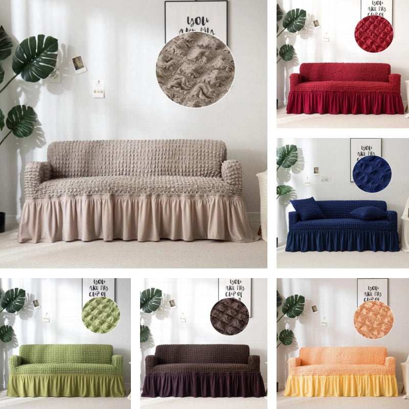 Solid-Color Textured Elastic Sofa Cover w/ Skirt