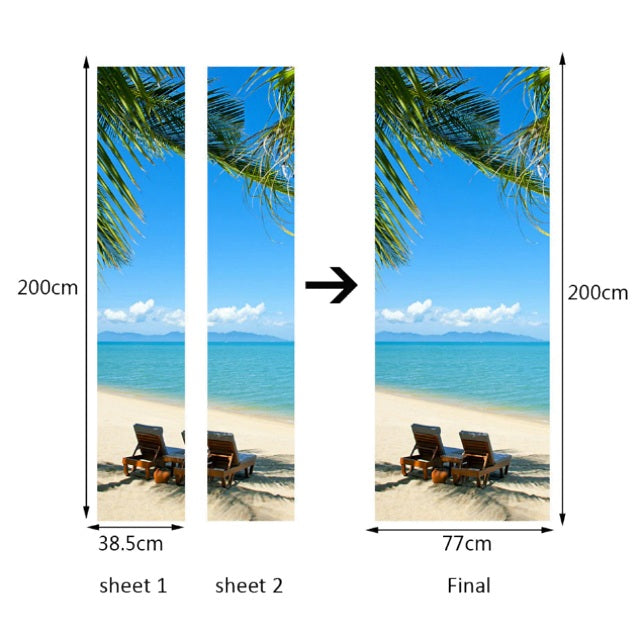 Tropical Beach / Ocean 3D Door Mural Sticker