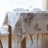 Vintage Butterfly Print Cotton Linen Tablecloth w/ Lace
