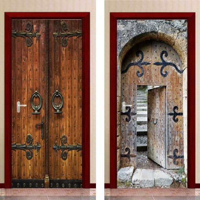 Medieval Wood Door 3D Door Decal Sticker