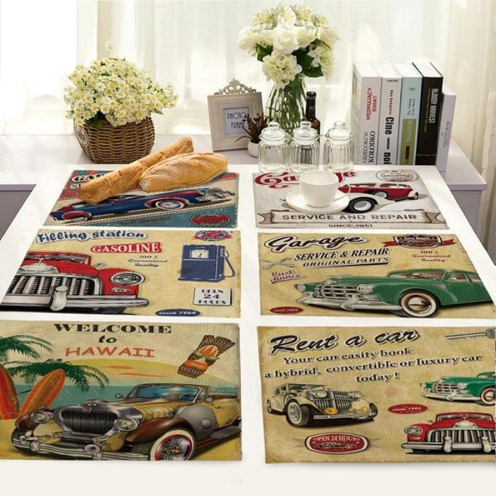 Vintage Retro Automobile Print Table Placemat