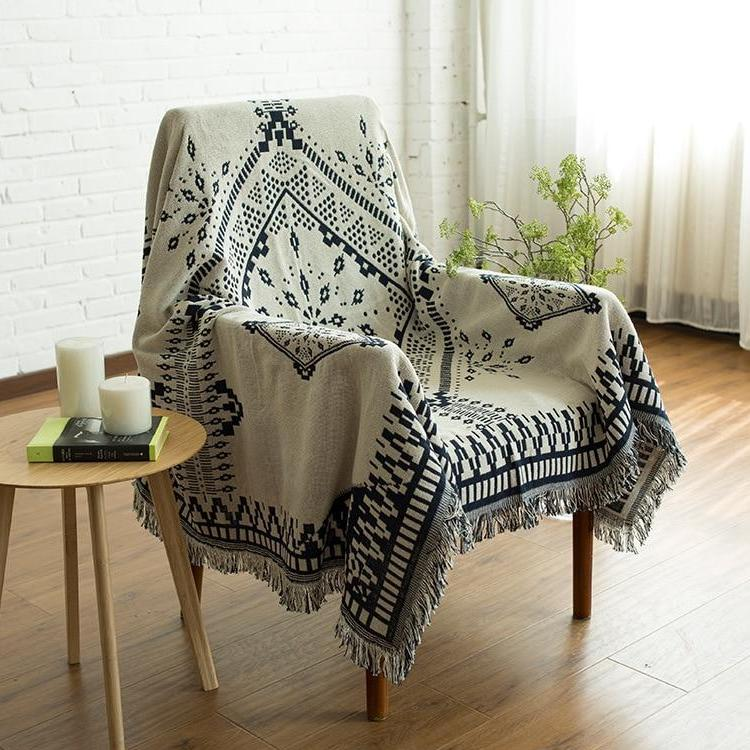 Knitted Ethnic Nordic Geometric Tapestry Sofa Throw Cover