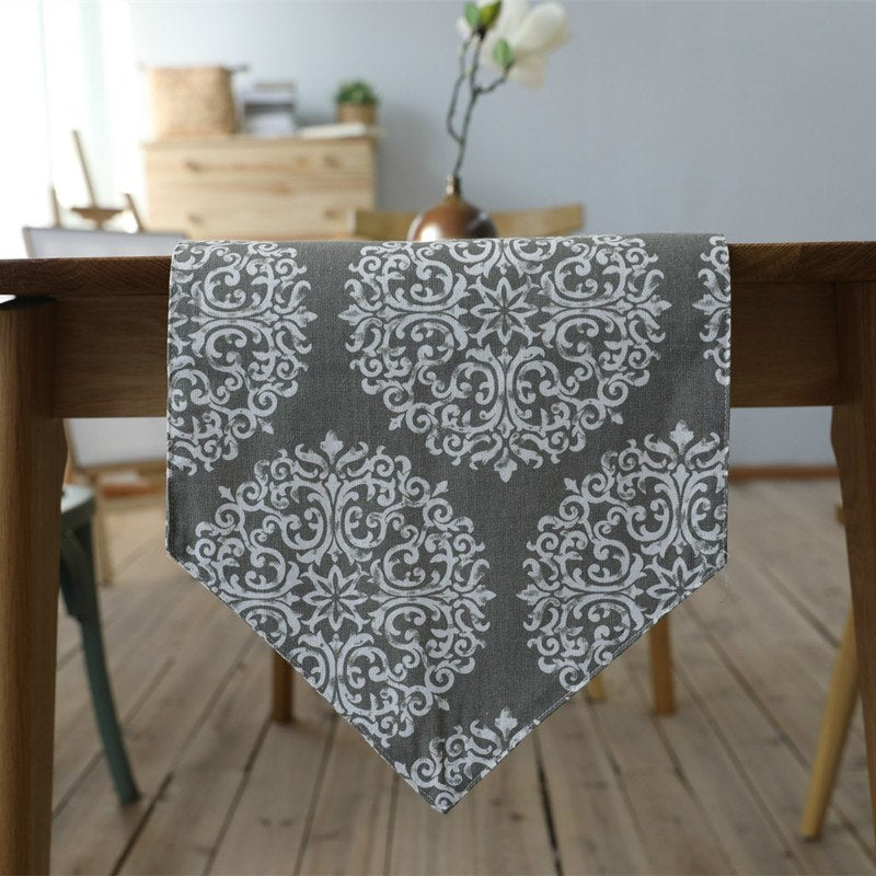 White Floral Medallion Pattern Cotton Linen Table Runner