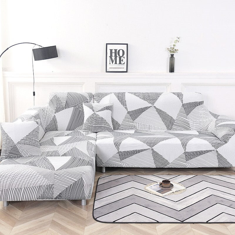Gray / White Abstract Triangle Pattern Sofa Couch Cover