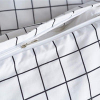 White 2/3-Piece Nordic Striped Lattice Duvet Cover Set