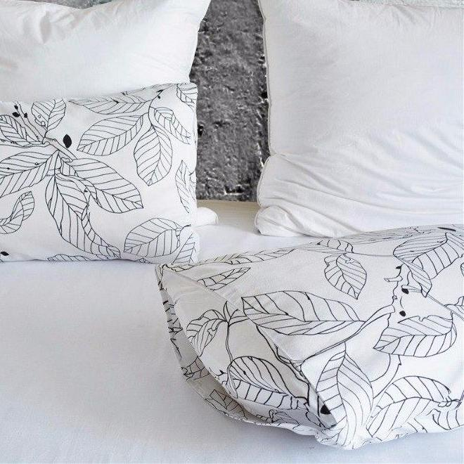 White 2/3-Piece Nordic Leaf Print Duvet Cover Set