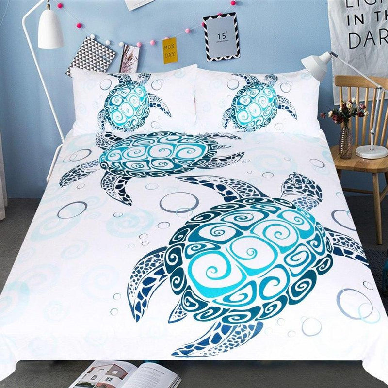 White 3-Piece Native Pattern Sea Turtle Duvet Cover Set