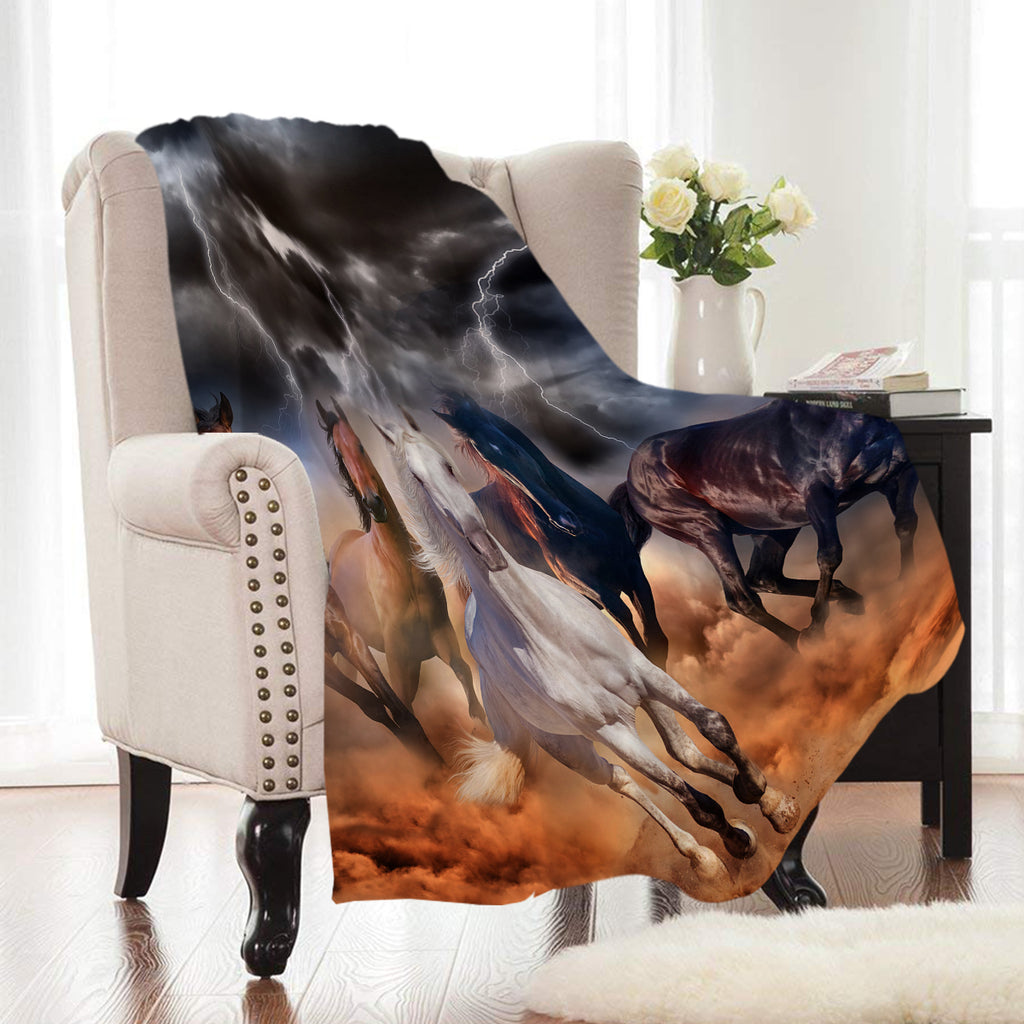 Roaming Wild Horse Print Fleece Throw Blanket
