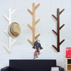 Bamboo Wood Tree Branch Style Wall Coat Rack