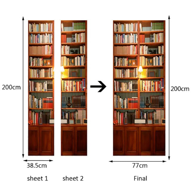 Wooden Bookcase 3D Door Mural Sticker