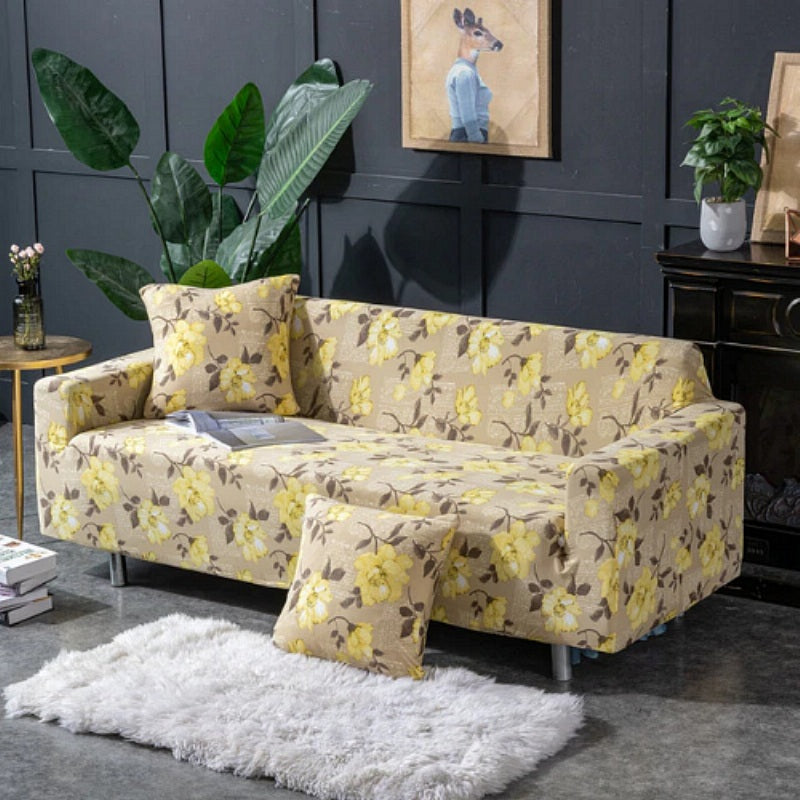 Swell Yellow Beige Floral Pattern Sofa Couch Cover Decorzee Short Links Chair Design For Home Short Linksinfo