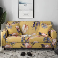 Tuscan Yellow Floral Palm Pattern Sofa Couch Cover