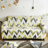 Yellow Zig-Zag Palm Leaf Pattern Sofa Couch Cover