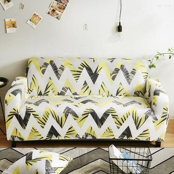 Prime Yellow Zig Zag Palm Leaf Pattern Sofa Couch Cover Short Links Chair Design For Home Short Linksinfo