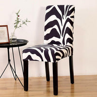 Black & White Zebra Print Pattern Dining Chair Cover