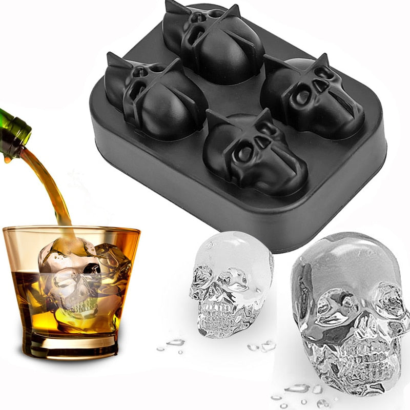 [Halloween Treats] 3D Skull Ice Cube Molds - AHADAY- Online Shopping With Great Deals