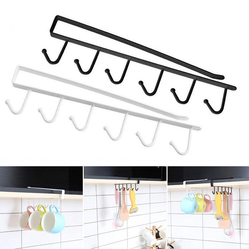 Under-Cabinet Hanger Rack (6 Hooks) - AHADAY- Online Shopping With Great Deals