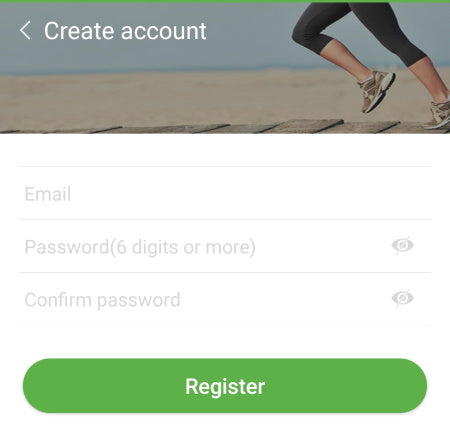 WearHealth Create Account Screen