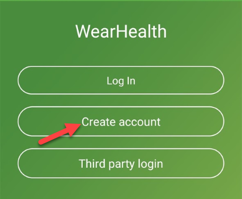 WearHealth Login Screen