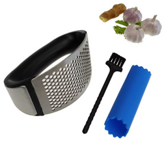 3 For 1! Metal Garlic Press/Peeler/Brush
