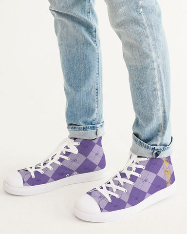 Purple Ankhgyle™ Pattern Men's Hightop Canvas Shoe
