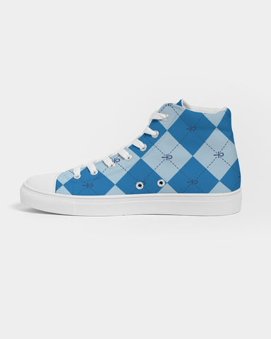 Blue Anhkgyle™ Pattern Men's Hightop Canvas Shoe