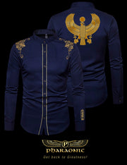 MEN'S GOLD HRU WITH EMBROIDERY DRESS SHIRT
