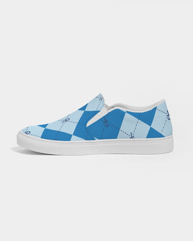 Blue Anhkgyle™ Pattern Women's Slip-On Canvas Shoe