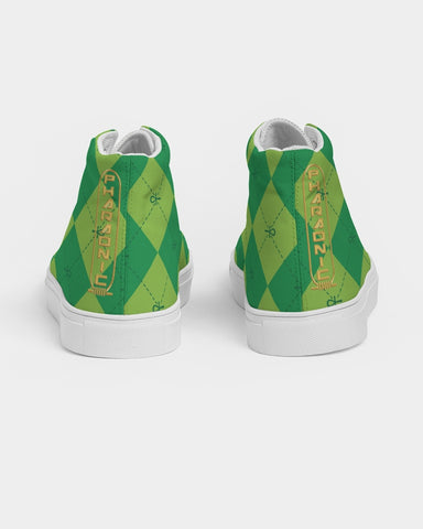 Green Ankhgyle™ Pattern Men's Hightop Canvas Shoe