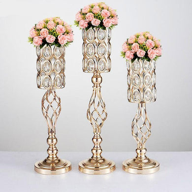 metal gold candle/flower holders for table centerpieces