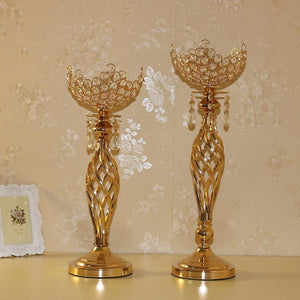metal gold flower holders for wedding banquet