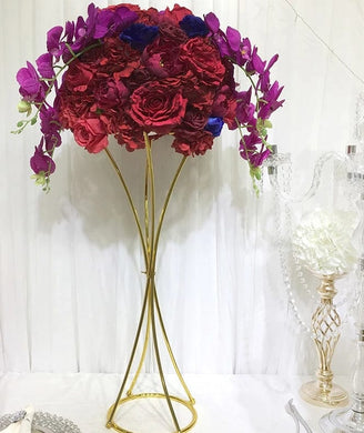 10PCS Flower Gold Metal Flower Stand