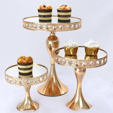 Crystal gold cake stand