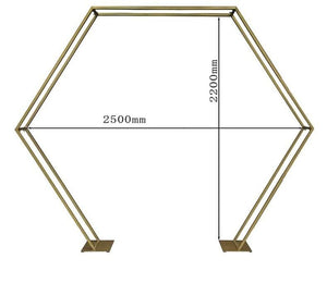 Outdoor Wedding home party ceremony metal iron arch hexagonal geometric flowers frame gold white backdrop stand props decoration