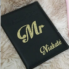 Load image into Gallery viewer, 2 PCS Custom Personalized Passport cover Mr Mrs Bride Groom