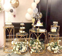 Load image into Gallery viewer, 5pcs Geometric cake stands/ Wedding sweet table/ Modern cake stand/ Gold Iron stand/ Gold cake stand/ Geometric plinths