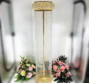 Roman Style Luxury Flower Pillar Gold Metal  Flower Stand for Wedding Party Event Decoration